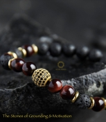 Lava Stone and Red Tiger Eye Royal Bracelet.